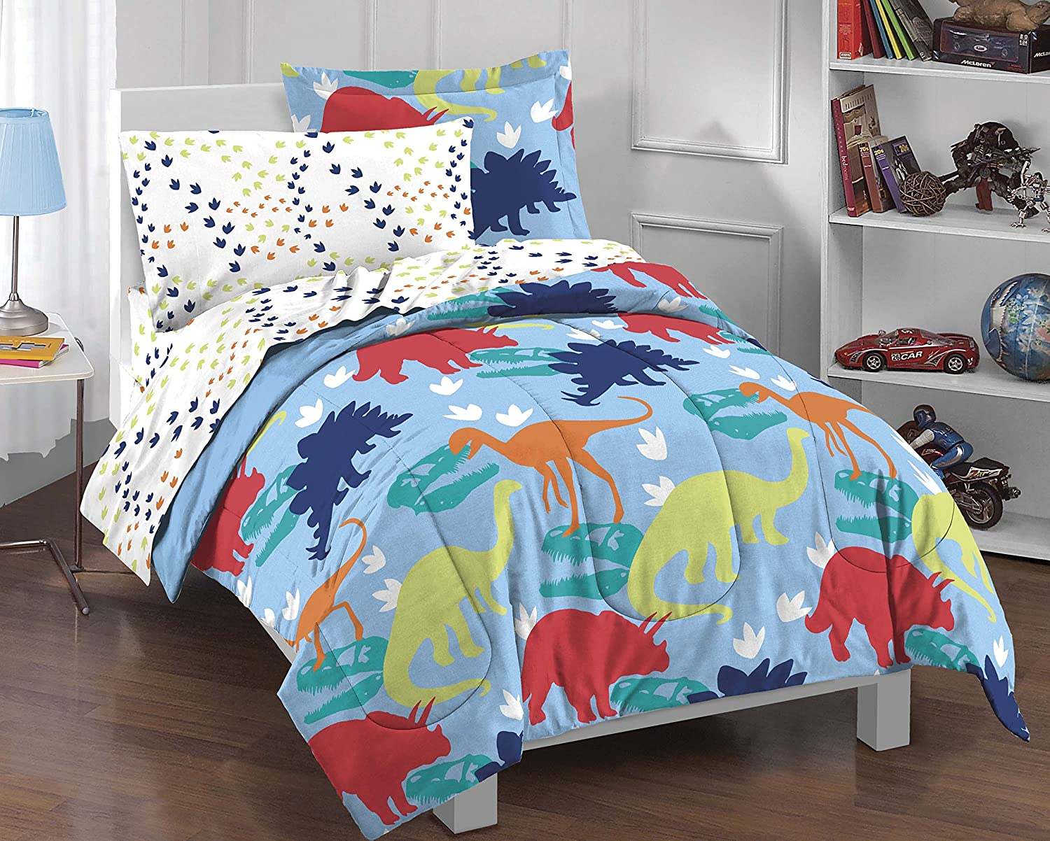 Dream Factory Dinosaur Prints Boys Comforter Set, Multi-Colored