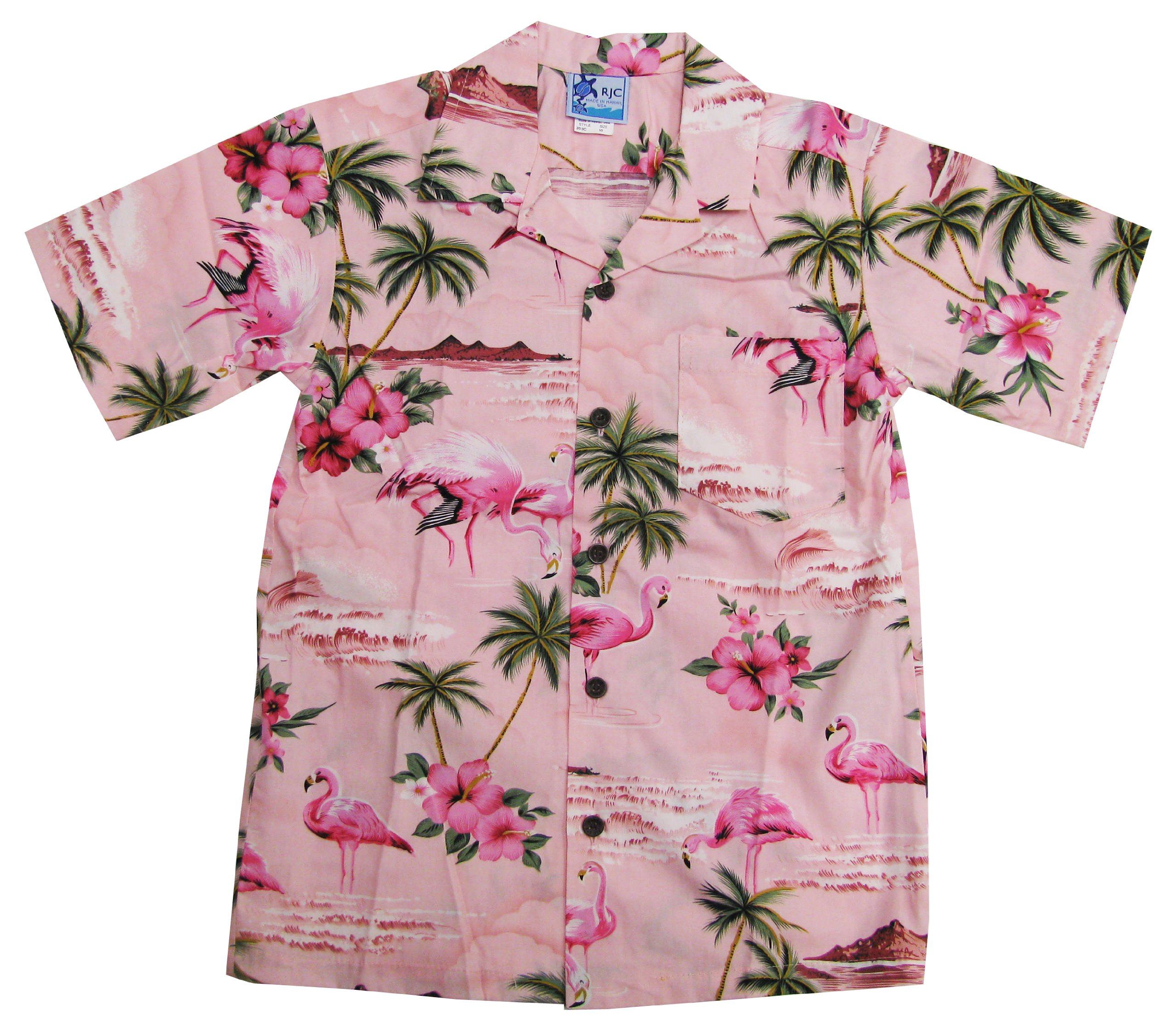 RJC Boys Pink Flamingo Hibiscus Shirt in Pink - 12