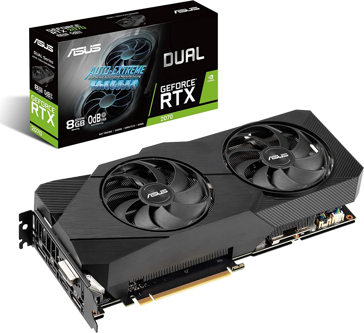 ASUS Dual NVIDIA GeForce RTX 2070 EVO V2 OC Edition Gaming Graphics Card (PCIe 3.0, 8GB GDDR6 memory, HDMI, DisplayPort, DVI-D, Axial-tech fan, 0dB technology, DirectCU II, Auto-Extreme) (DUAL-RTX2070