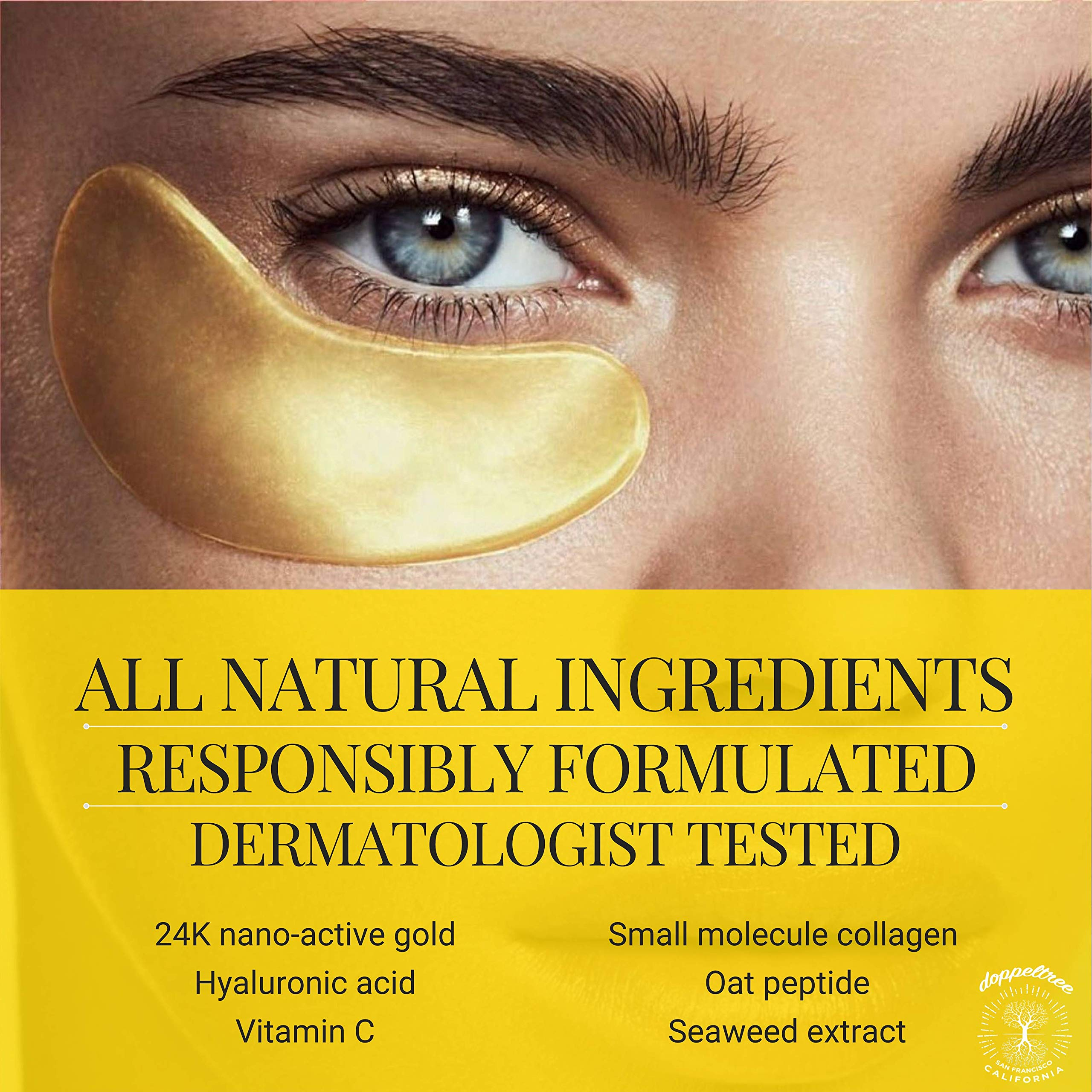 (18 Pairs) All Natural Under Eye Patches & Masks | Best Treatment for Bags & Puffiness, Wrinkles and Dark Circles | 24K Gold, Anti Aging Collagen, Hyaluronic Acid, Hydrogel | Designed in San Francisco by Doppeltree (Image #2)