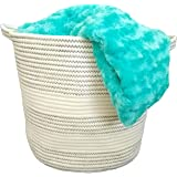 """Cotton Rope Basket with Handles for Baby Nursery and Kid's Toy Storage, Laundry Hamper, Bathroom Storage and Closet Organizer 15"""" x 14"""""""