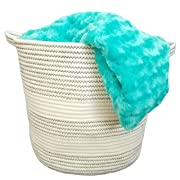 Cotton Rope Basket with Handles for Baby Nursery and Kid's Toy Storage, Laundry Hamper, Bathroom Storage and Closet Organizer 15  x 14