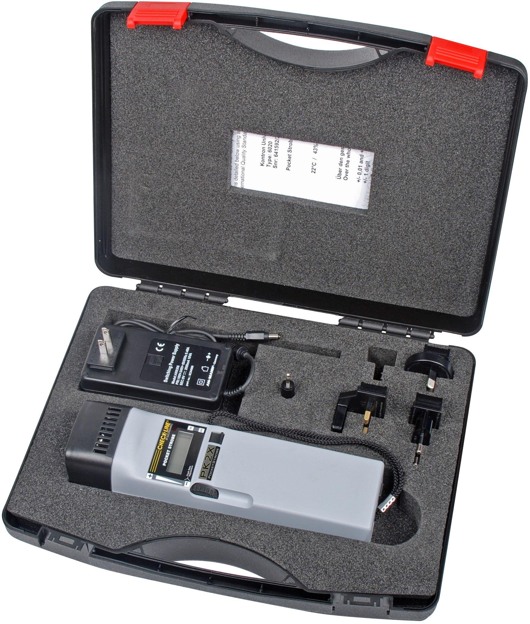 PK2X Pocket-Strobe Stroboscope, Flash Range: 30 - 12,500 FPM, Flash Brightness: 1200 Lux, Complete Kit by Checkline