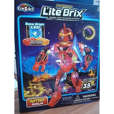 Lite Brix Nitro Ninja Light Up Robot 35 Pc Super Bright LED Glowing: Toys & Games