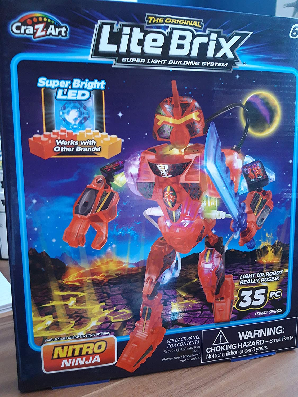 Amazon.com: Lite Brix Nitro Ninja Light Up Robot 35 Pc Super ...