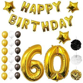 Amazon.com: Oro, Color blanco y negro Feliz cumpleaños ...
