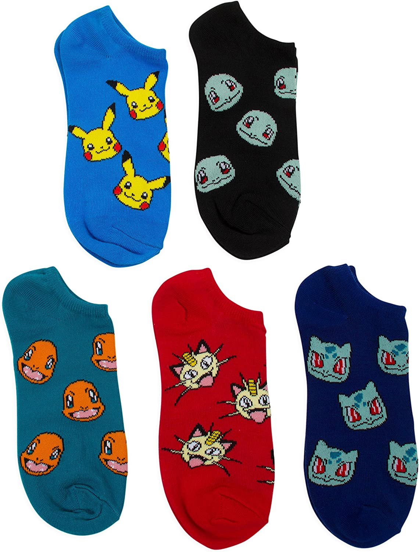 Pokemon Big Boys 5 Pack No Show Socks