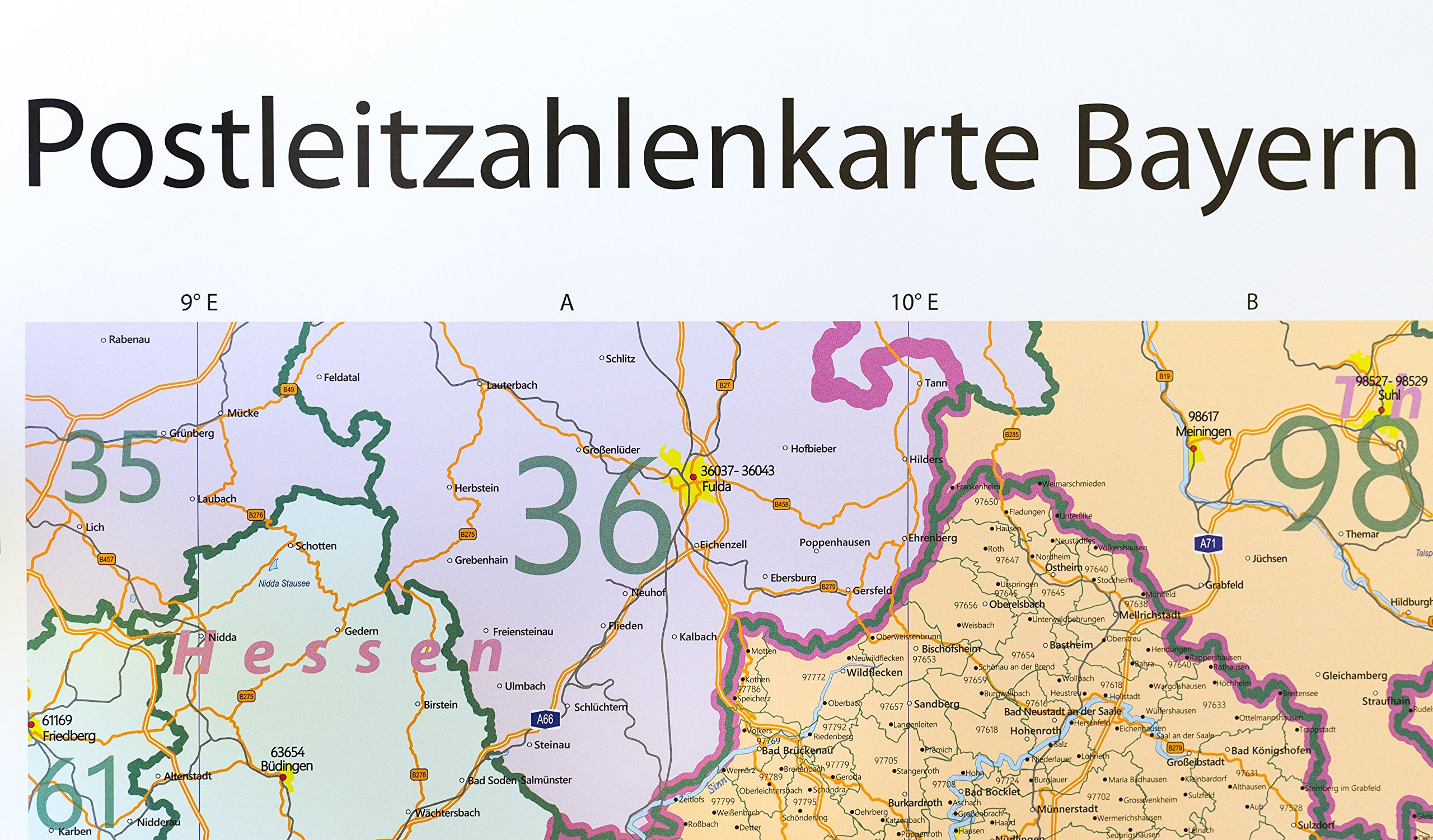 Plz Karte Bayern.Postleitzahlenkarte Bayern Xl 1 400 000 Gerollt 5 Stellige Plz
