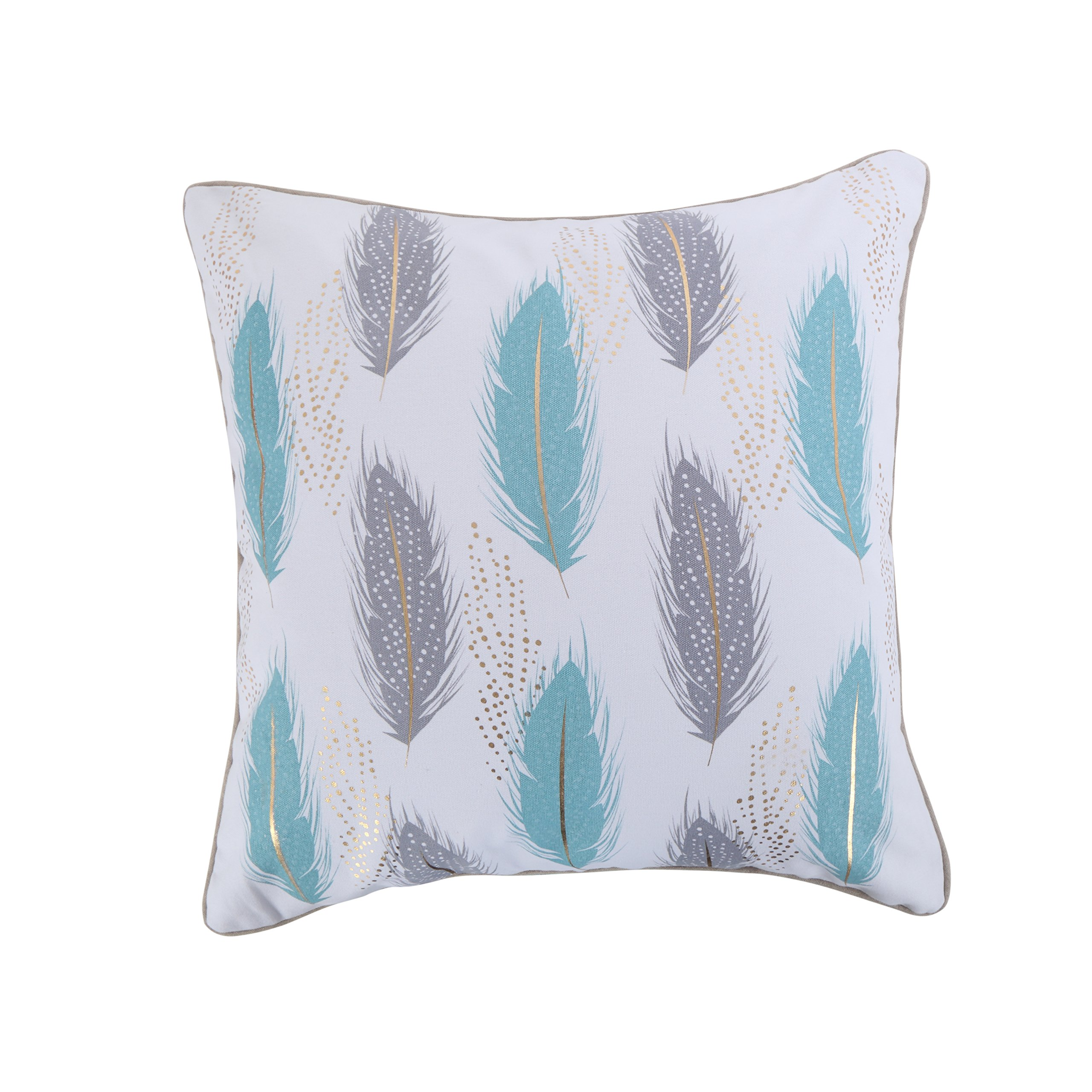 Levtex Spa Pintuck Teal Gray Feathers Pillow