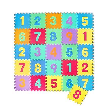 Puzzle goma EVA de 26 piezas | Alfombra infantil puzzle de números | Alfombra puzle (