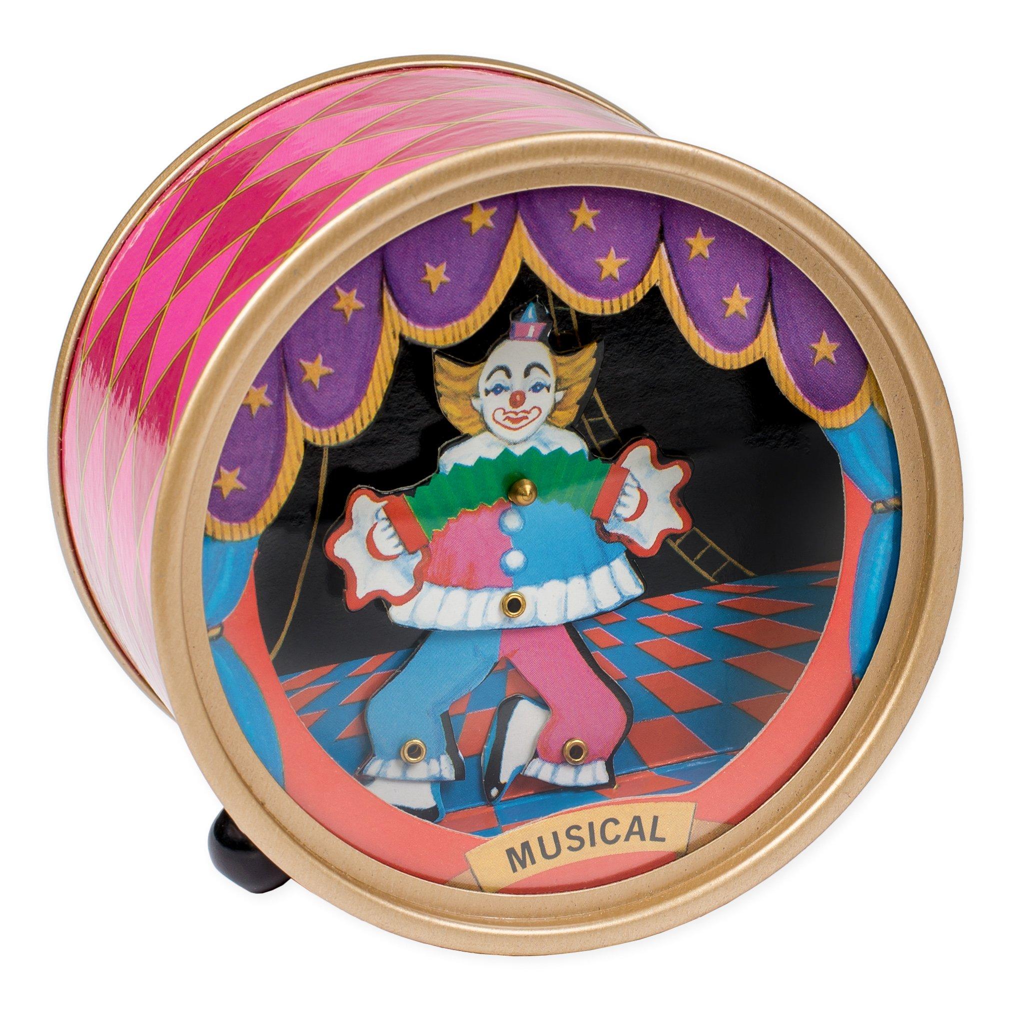 Dancing Circus Clown Pink Argyle Drum Hardboard Musical Figurine Plays Tune Send In the Clowns