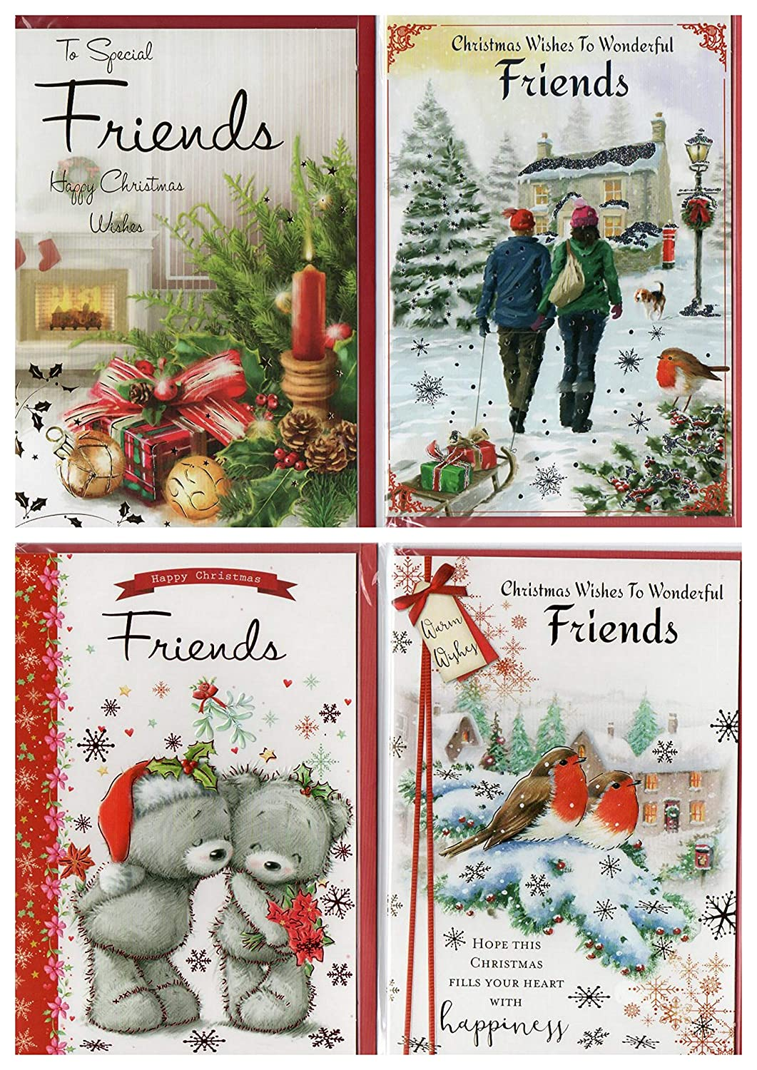 8 Assorted to Friends at Christmas Cards and Envelopes. Embossed Cards with Envelopes