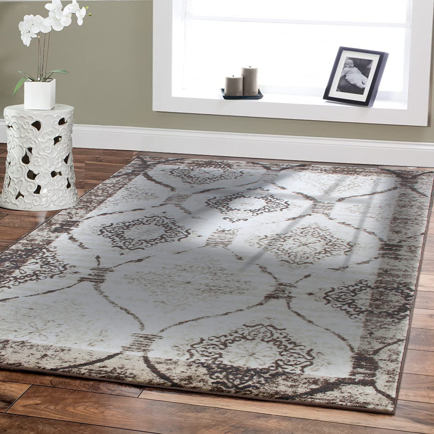 Amazon.com: Large 8x11 Modern Rugs For Living Room Cream Rug 8x10 Rugs  Diamond Shape Black Cream Brown Contemporary Area Rug 8 By 10 Clearance  Under 100: ...