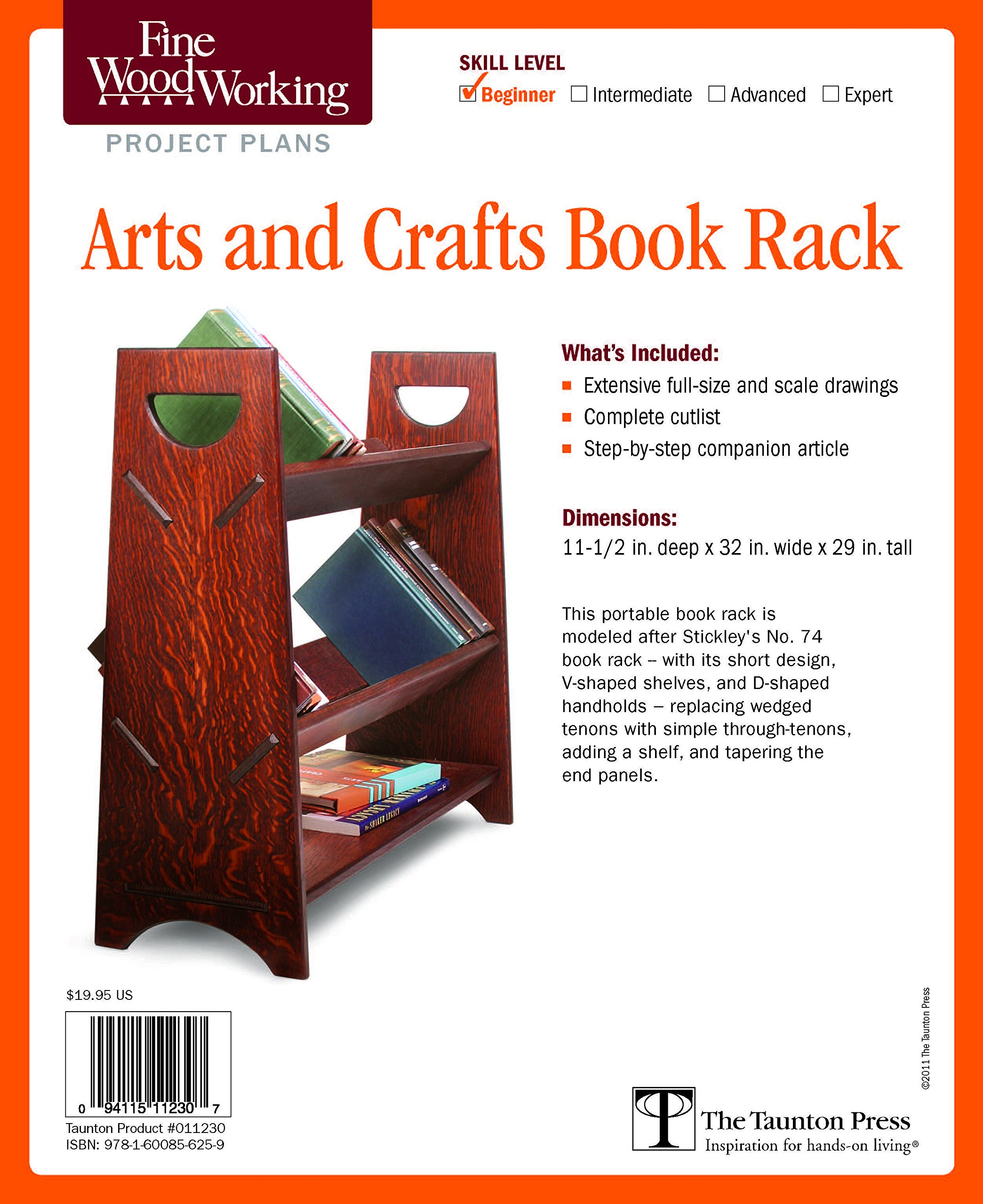 Download Fine Woodworking's Arts and Crafts Book Rack Plan PDF