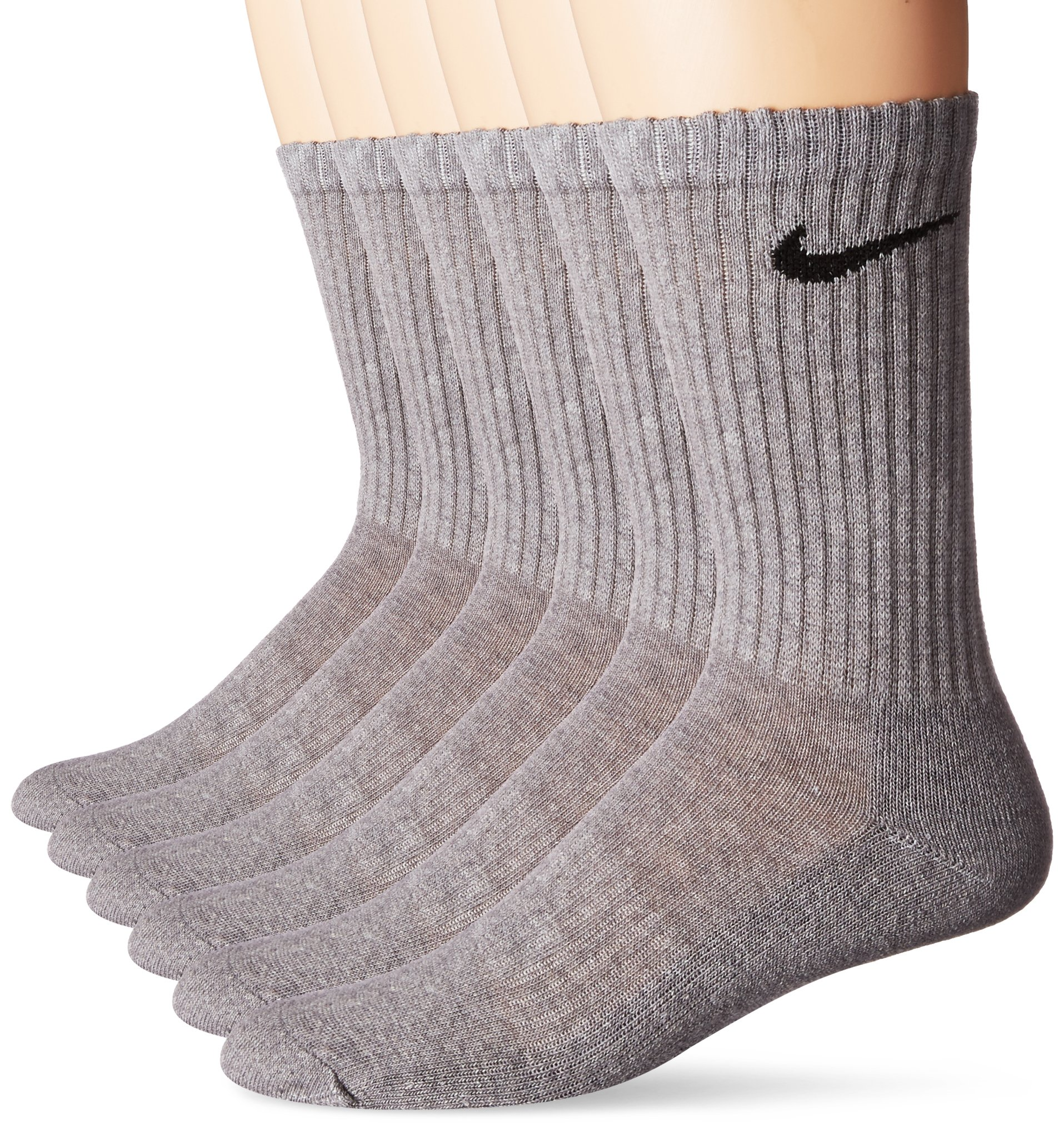 NIKE Unisex Performance Cushion Crew Socks with Bag (6 Pairs), Dark Grey Heather/Black, Medium by Nike