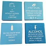 Funny Cocktail Napkins Fun Quotes Blue Variety Pack 40 Total Napkins
