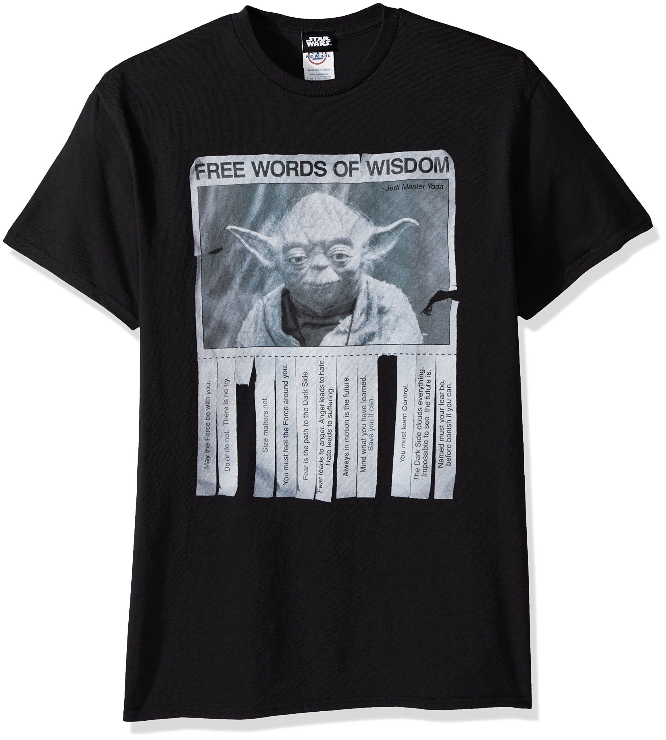 Star Wars Men's Words of Wisdom T-Shirt, Black, X-Large