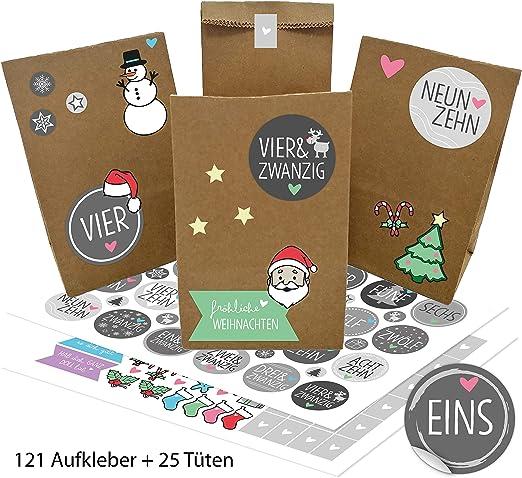 Aufkleber Adventskalender Geschenk grau 24 Tüten zum selbst Befüllen