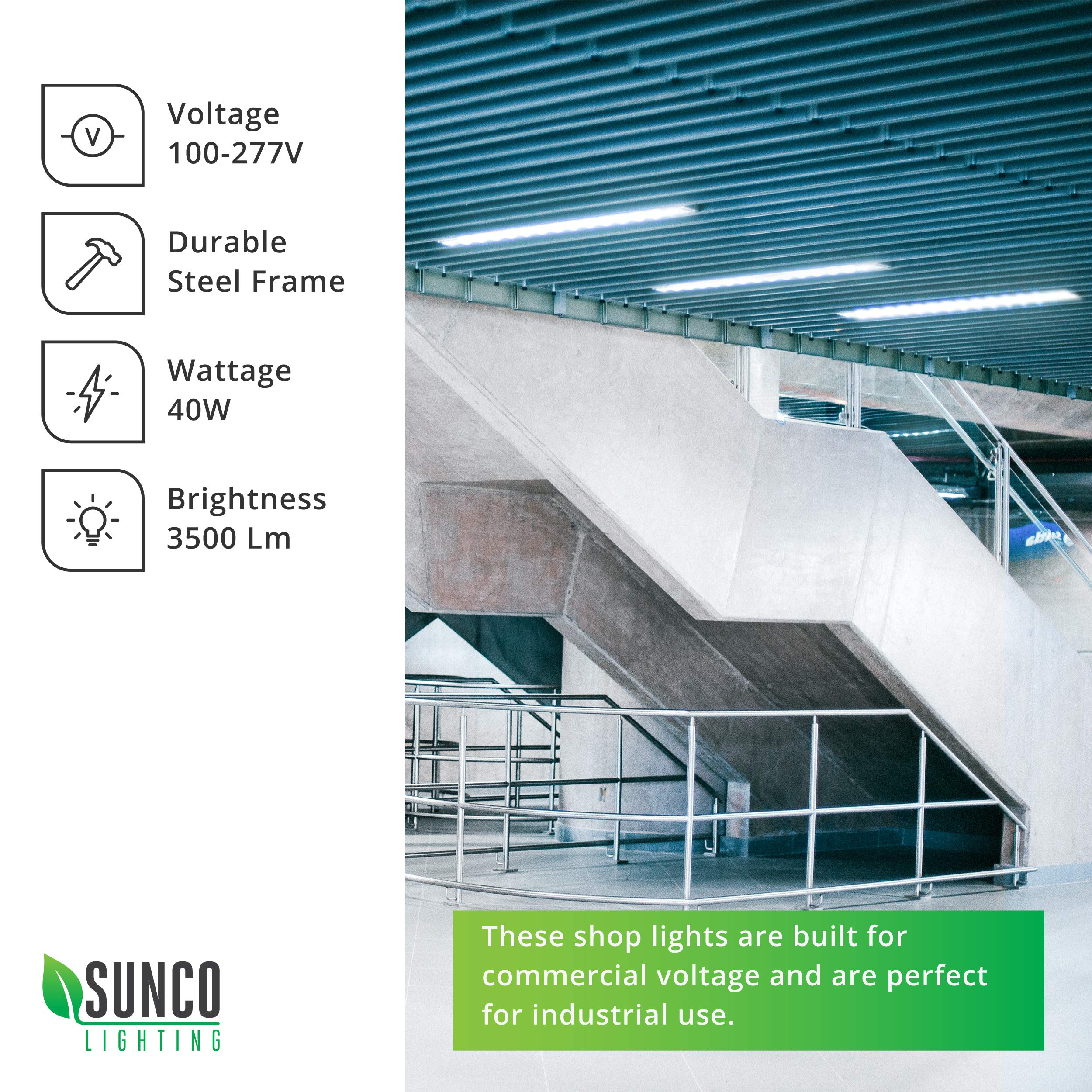 Sunco Lighting 12 Pack Wraparound LED Shop Light, 4 FT, Linkable, 40W=300W, 3500 LM, 5000K Daylight, Integrated LED, Direct Wire, Flush Mount Fixture, Utility Light, Garage- ETL, Energy Star by Sunco Lighting (Image #4)