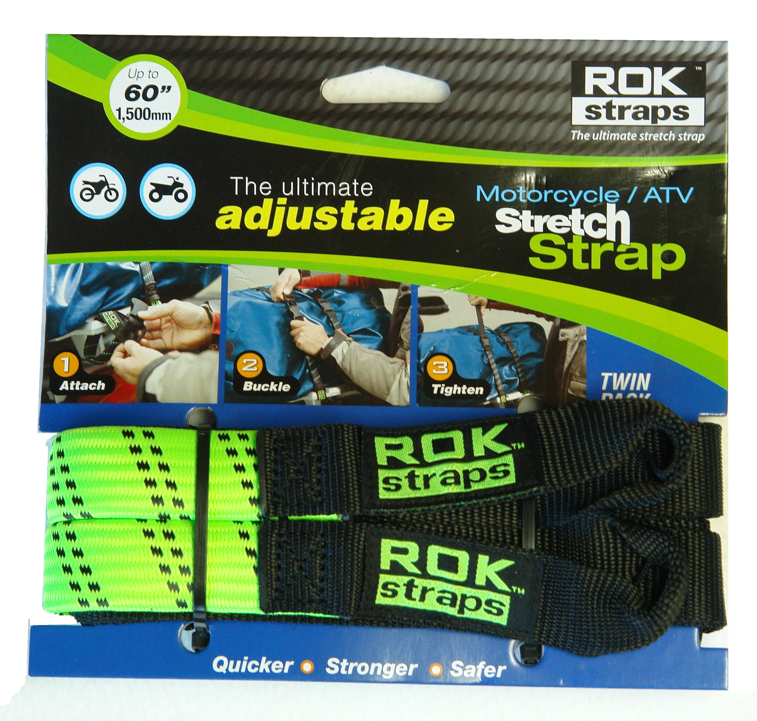 ROK Strap Adjustable Motorcycle Stretch 18''-60'' 2-Pk - Lime Green