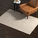 Amazon Brand – Rivet Contemporary Wool Area Rug, 4 x 6 Foot, Grey and White