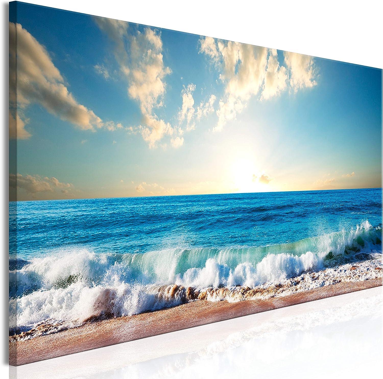 murando Cuadro en Lienzo Mar Playa 150x50 cm 1 Parte Impresión en Material Tejido no Tejido Impresión Artística Imagen Gráfica Decoracion de Pared Paisaje Cielo Azul c-B-0384-b-a