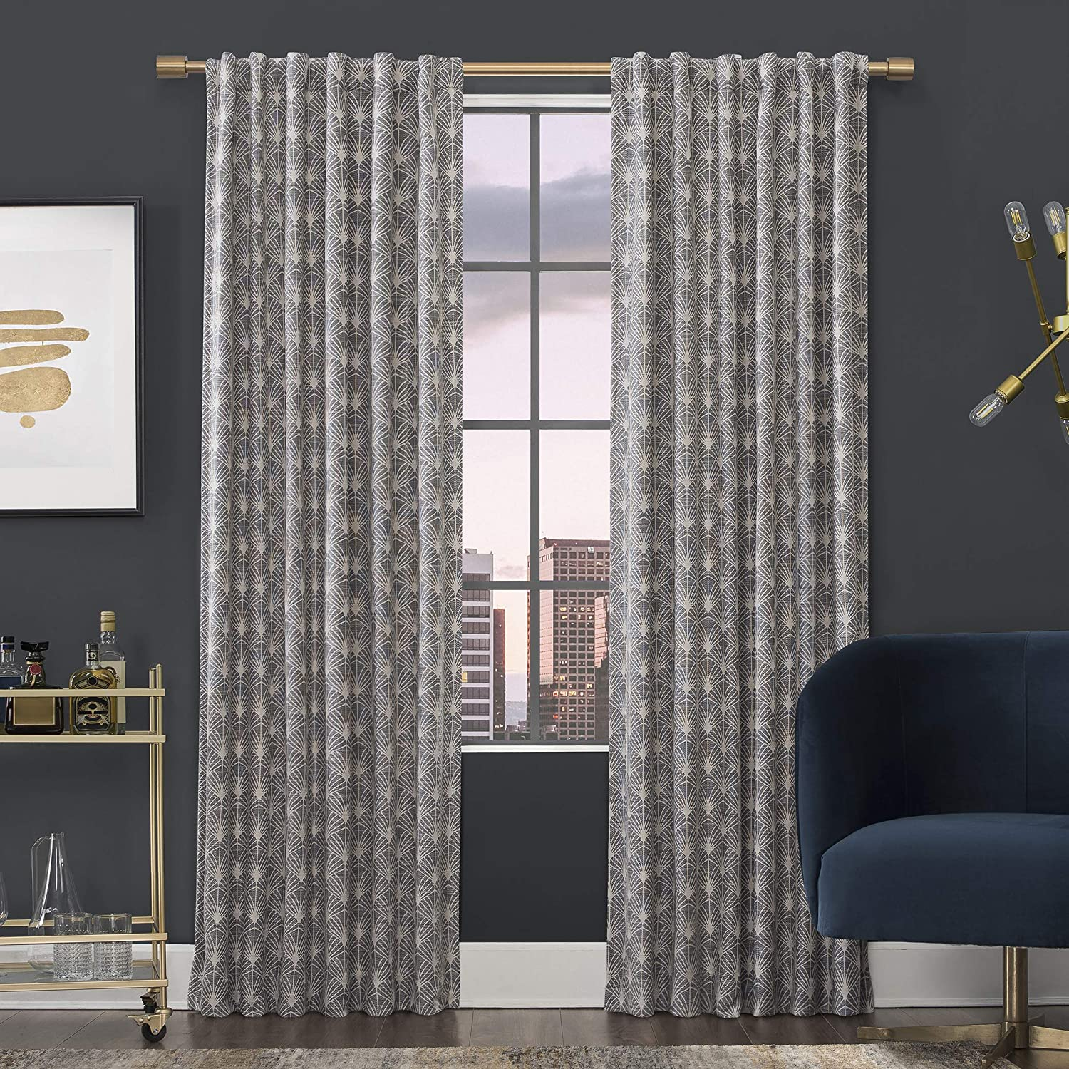 Scott Living Montauk Art Deco 100 Blackout Back Tab Curtain Panel 50 X 96 Navy Home Kitchen