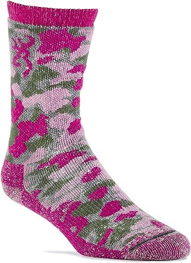 Browning Girl/'s Wool Blend Camo Crew Socks Camo Pink