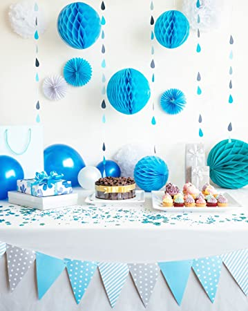 Baby Shower Party Decorations For Boys In Blue And White