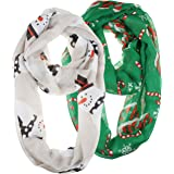 Vivian & Vincent 2 Pack of Soft Light Weight Elegant Sheer Infinity Scarf (Gift Idea)