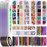 Teenitor Nail Art Decoration Kit with Nail Design Brushes Glitters Foil Flakes Color Rhinestones Pearl Butterfly Stickers Nai