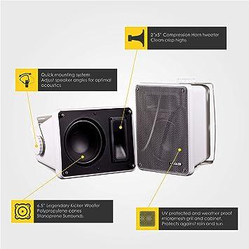 Kicker KB6000 2-Way Full Range Indoor Outdoor Marine Speakers (Pair) |  Weatherproof Patio, Sunroom, Garage, Poolside, In-Home | 6 5 inch woofer,  2x5