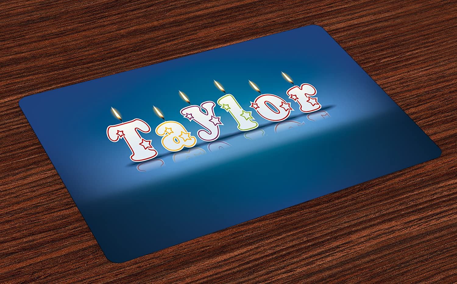 Ambesonne taylor place mats set of 4 common given name in english happy occasion candles font design on blue washable fabric placemats for dining room