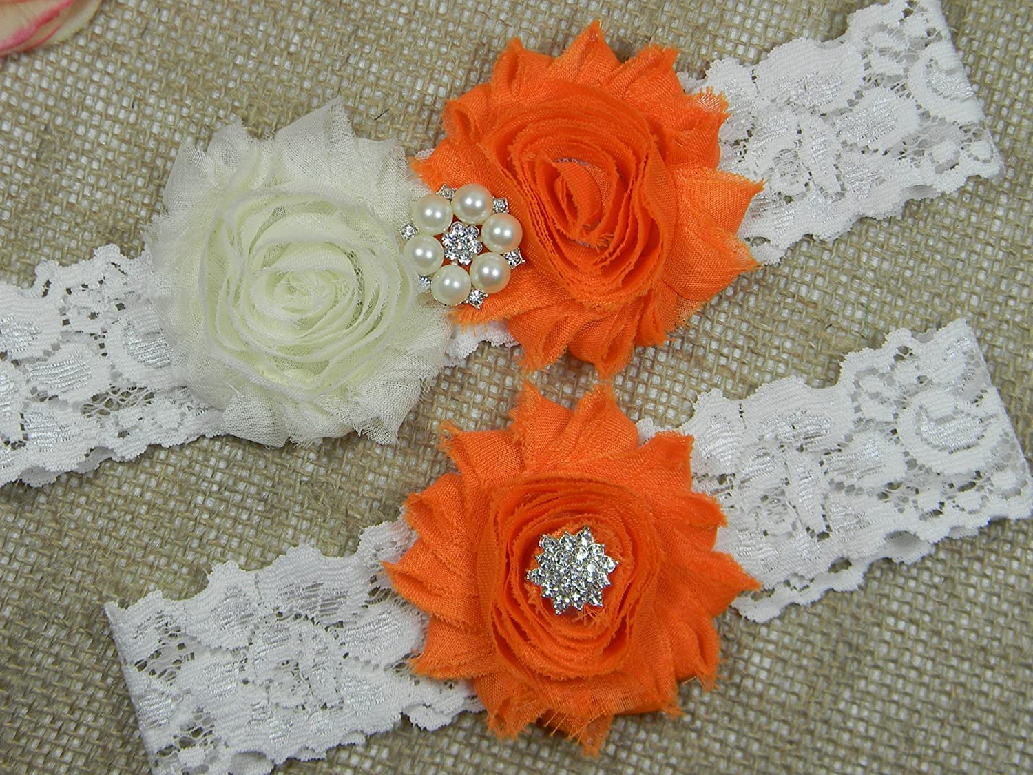 Wedding Garter Set, Bridal Garter Belt, Ivory and Orange Garter, Keepsake and Toss Stretch Lace Garters