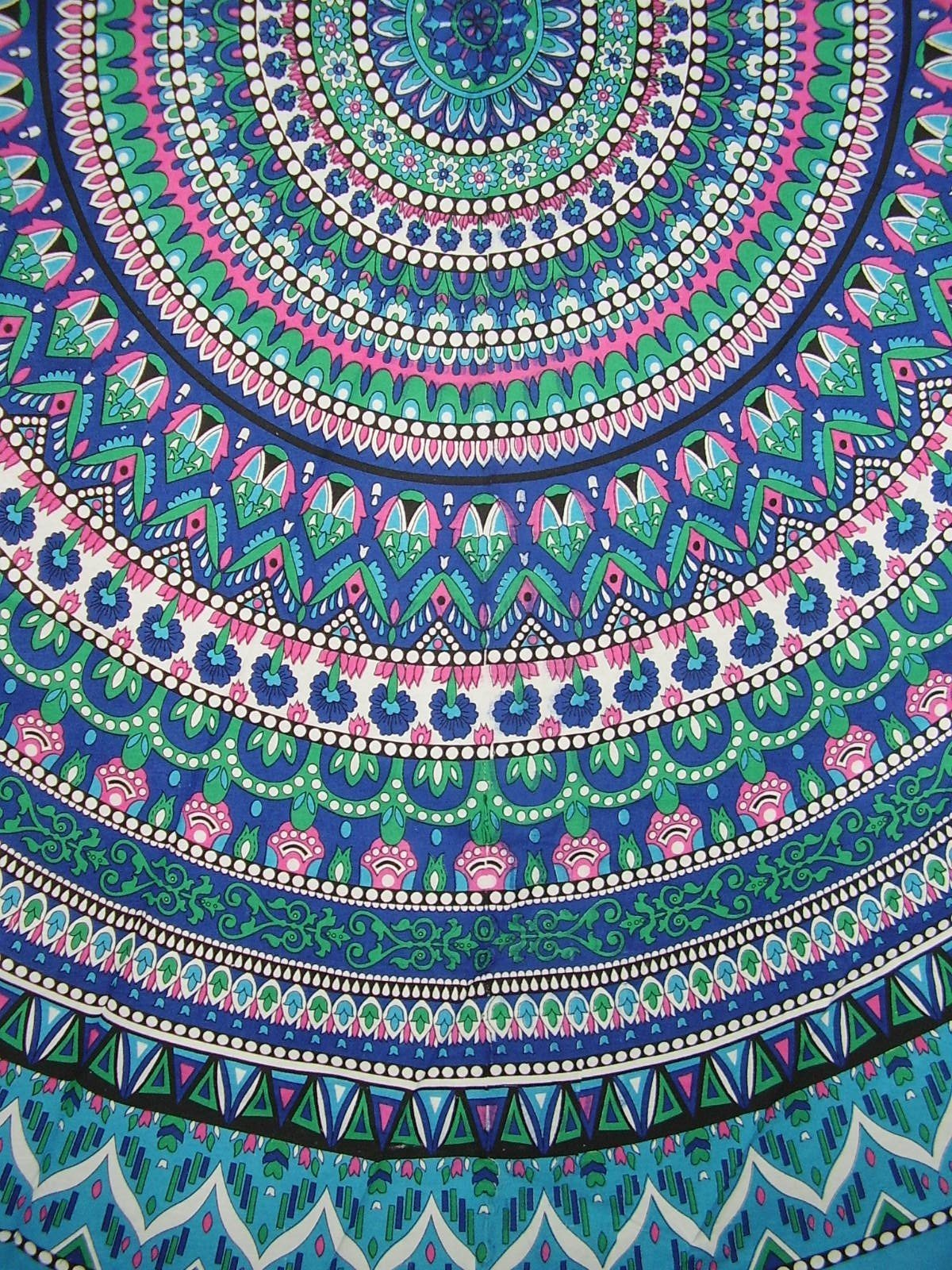 Geometric Pattern Round Cotton Tablecloth 90'' x 90'' Multi Color