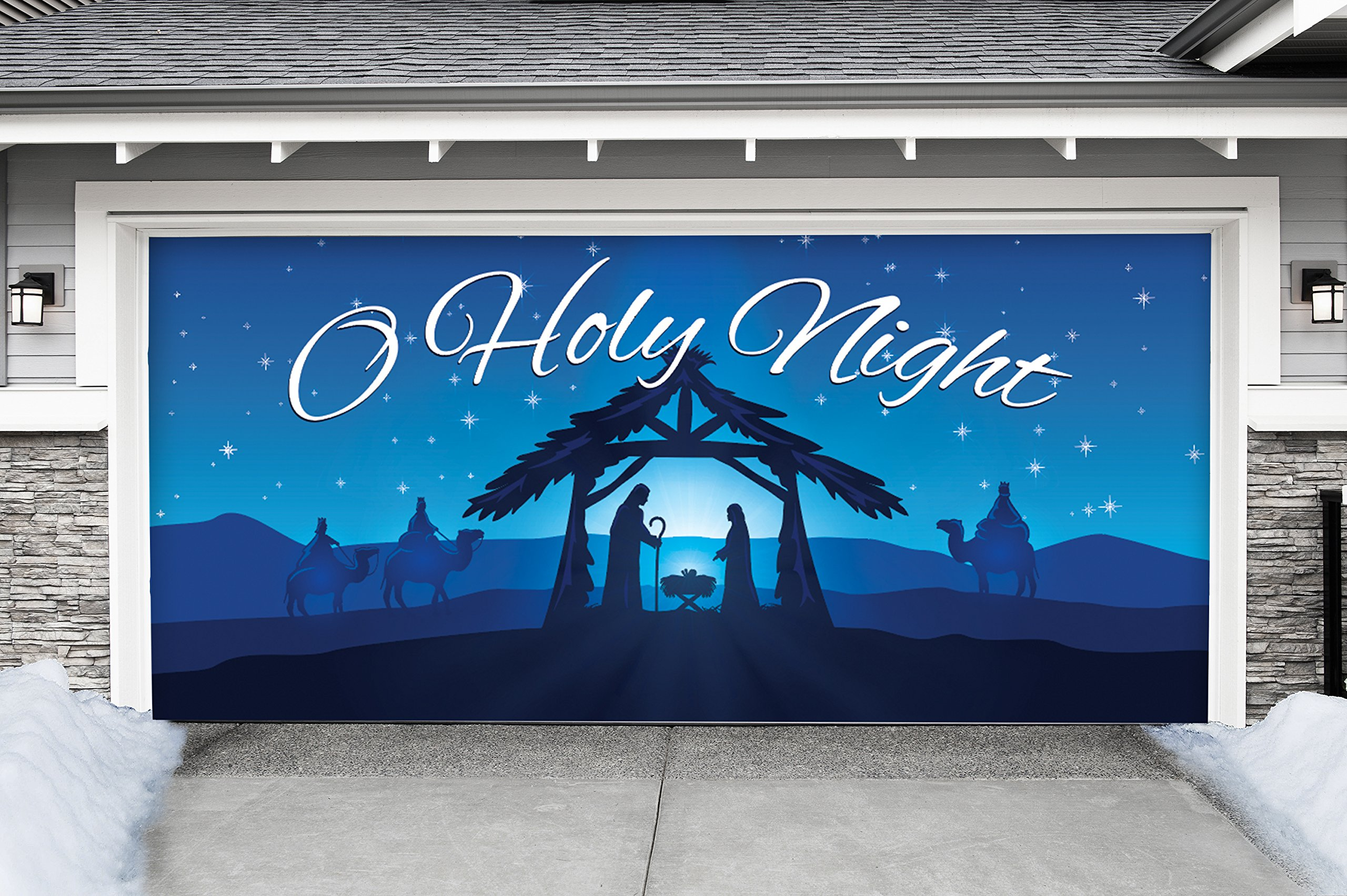 Outdoor Christmas Holiday Garage Door Banner Cover Mural Décoration - Nativity Scene O Holy Night - Outdoor Christmas Holiday Garage Door Banner Décor Sign 7'x16'