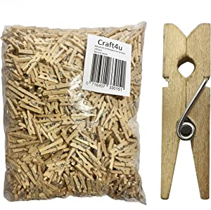 """Craft4u 100-Pack of 1 6/16 Inch (35mm, 1.38"""") Small Clothespins Wood. Mini Natural Wooden Clothes pins for Home School Arts Crafts Decor DIY Screen, Tiny"""