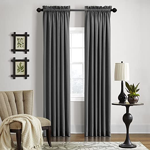 """Veratex Gotham Collection Contemporary Style 100% Linen Bedroom Rod Pocket Fastener Style Curtain, 108"""" Long, Dark Grey"""