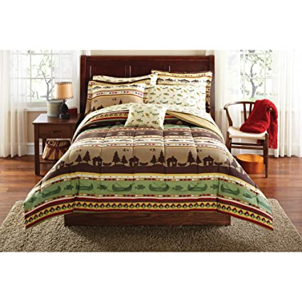 Lodge Bedding Sets In A Bag.King Size Fishing Camping Cabin Bed In A Bag Coordinated Bedding Set 8 Piece Set Ideal For Your Cabin Bedding King Size Comforter And King Size