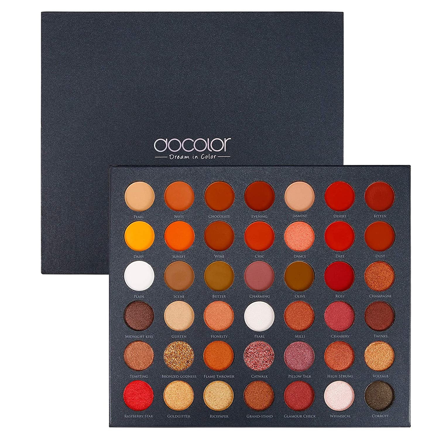 Docolor Eyeshadow Palette, Matte Shimmer 42 Colors Ultra Pigmented Metallic Make Up Eye Shadow Powder, Natural Warm Glitter Color Shades, Long Lasting Waterproof Professional Makeup Palette