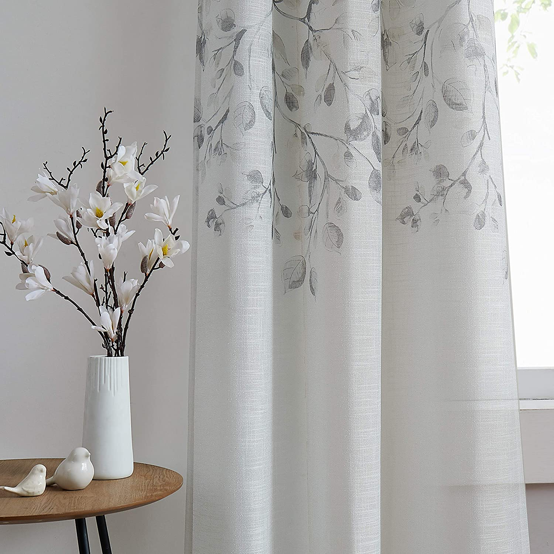"Central Park Leaf Floral Print Metallic Sheer Linen Window Curtain Panel for Rustic Living Room/Bedroom Sparkling Decorative 6 Grommets Top Drape Panels Farmhouse Curtains, Gray Tan,40"" x 84""x2, 2 PK"