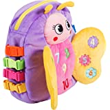 """BUCKLE TOY """"Blossom"""" Butterfly Backpack – Toddler Early Learning Basic Life Skills Children's Plush Travel Activity"""