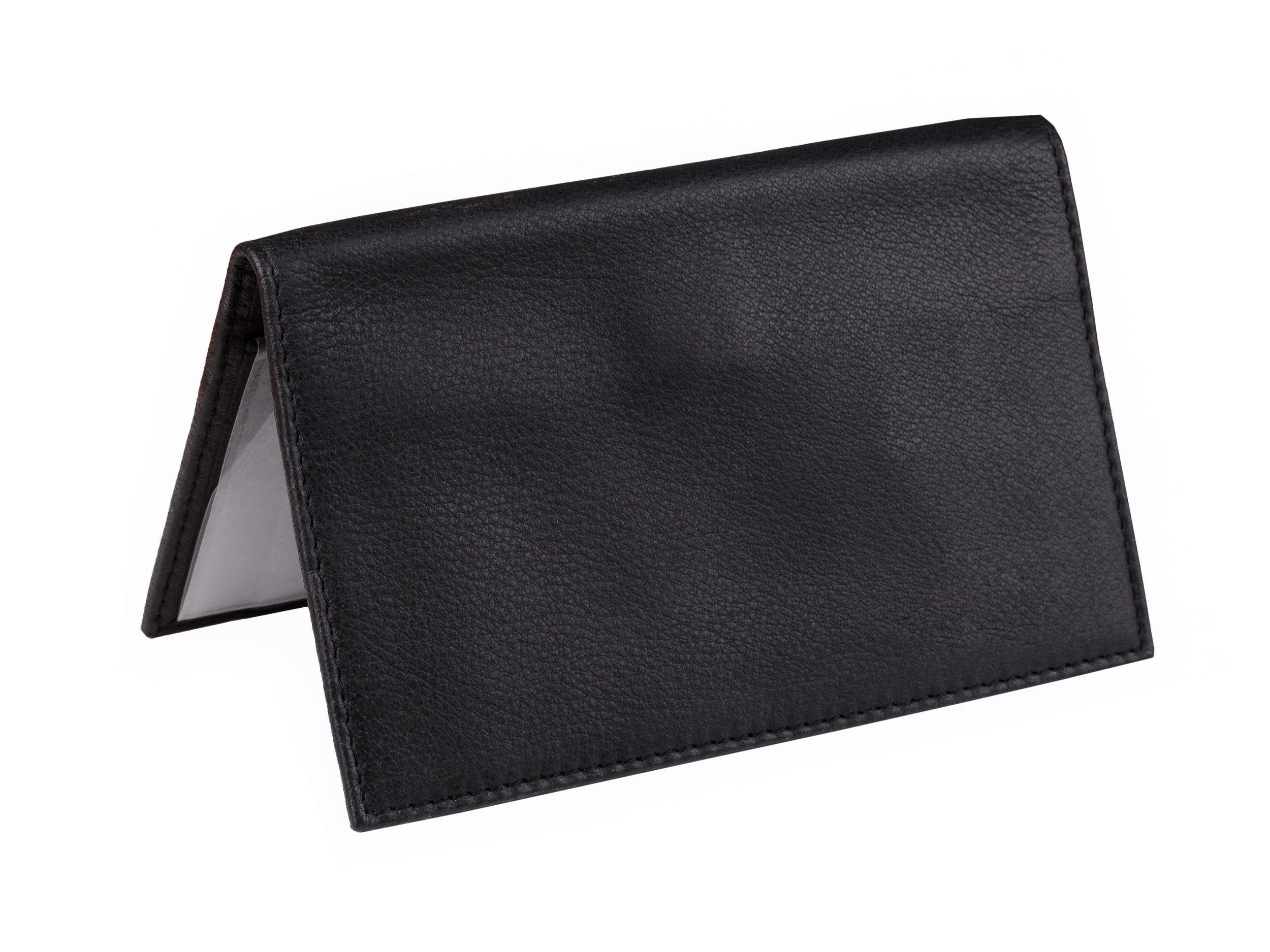 Dwellbee Premium Leather Checkbook and Register Cover with Pen Holder (Buffalo Leather, Black)