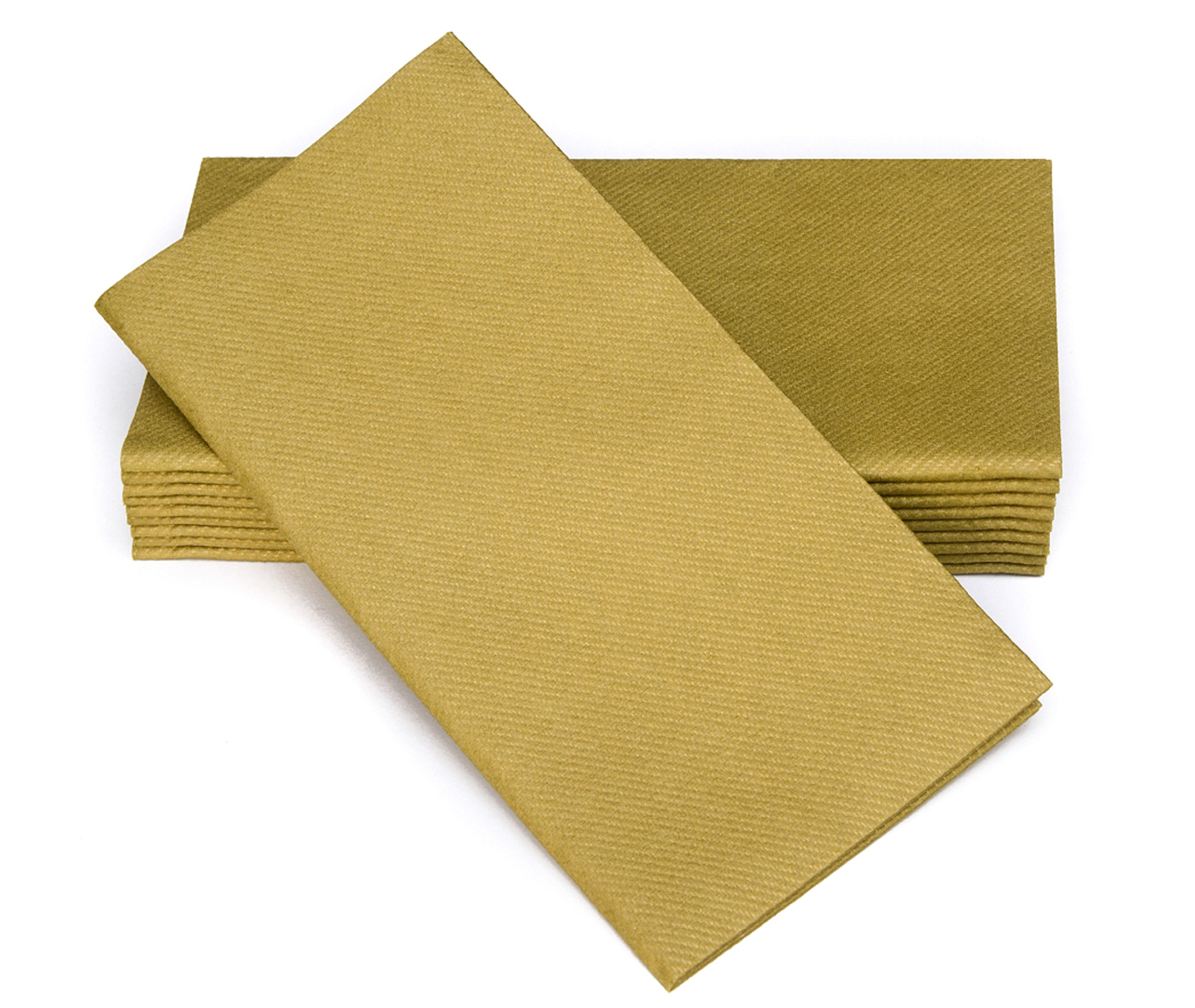 "Simulinen Dinner Napkins – Disposable, GOLD, Cloth-Like – Elegant, yet Heavy Duty Soft, Absorbent & Durable – 16""x16"" – Box of 50"