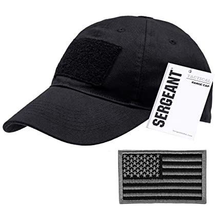 55703c99cd4d39 SERGEANT Military Tactical Baseball Cap in Black + USA Flag Patch. 100%  Cotton,