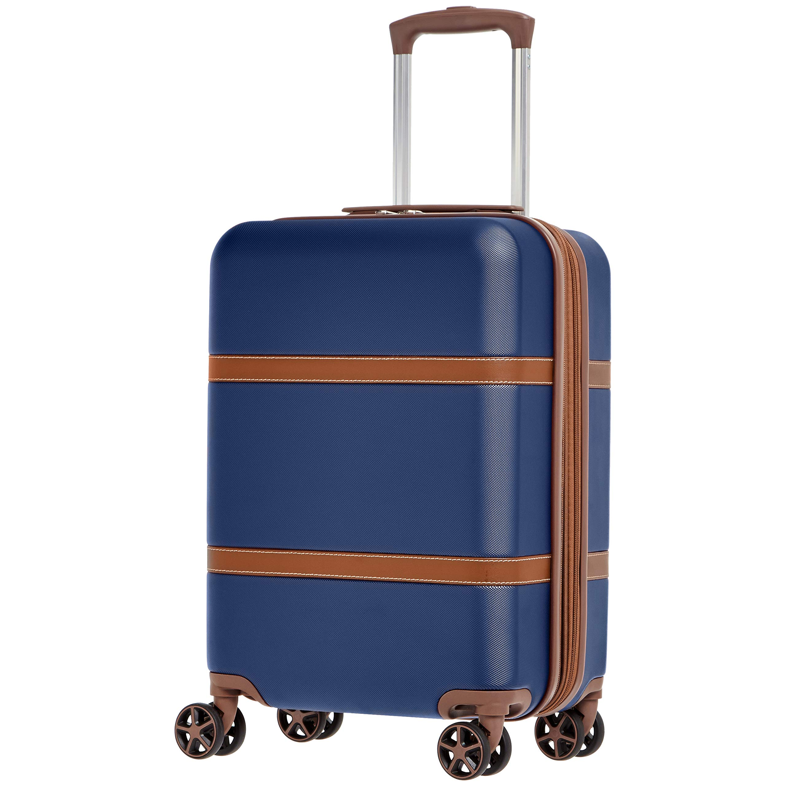 Vienna Carry-On Spinner Suitcase Luggage - Expandable with Wheels - 21.6 Inch, Blue