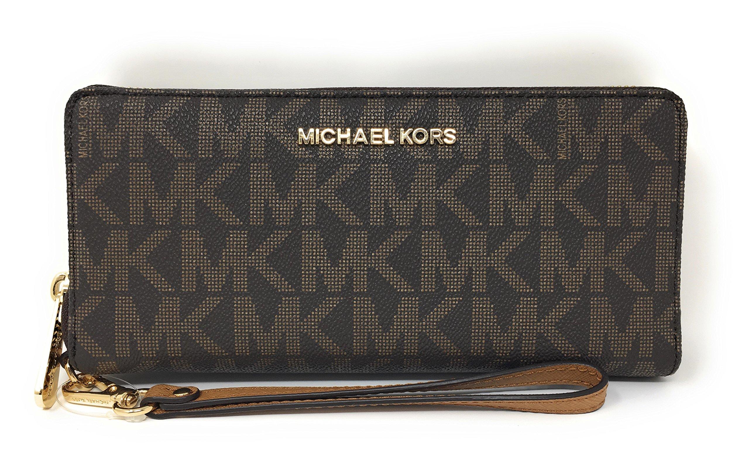 Michael Kors Jet Set Travel Monogram Zip Around Travel Wallet Wristlet (Brown / Acorn)