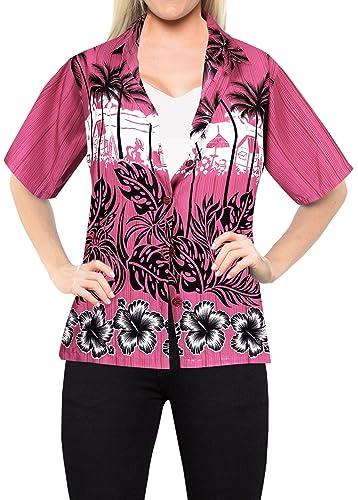 Blusas Para Mujer de La Camisa Hawaiana de natación Pareo de Manga Corta Traje de Baño Rosa XL