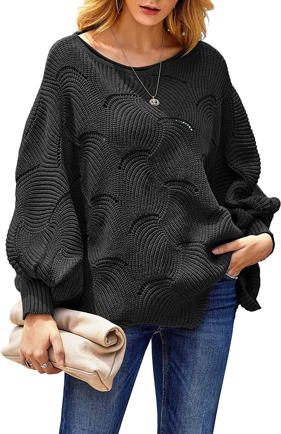 RUIVE Women/'s One Shoulder Knitted Top Pullover Patchwork Large Size Loose Long Batwing Sleeve Jumper Ladies Sweater Blue