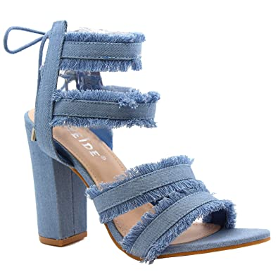4e3f012fc51 Ladies Women Lace Up High Heels Ankle Strappy Denim Gladiator Sandals Shoes  Size